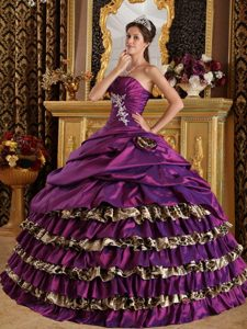 One Shoulder Purple Low Price Quinceaneras Dresses with Appliques