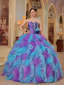 Sweetheart Purple and Aqua Blue Perfect Quince Dress with Ruffles