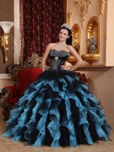 Cute Muti-Color Beaded Organza Quinceanera Dress with Sweetheart