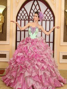 Low Price Brush Train Ruffled Quince Dresses in Green and Rose Pink