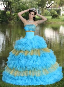 Cheap Organza Multi-Color Strapless Quinceanera Dress with Beading