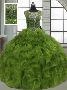 Beauteous Olive Green Ball Gowns Scoop Sleeveless Organza Floor Length Lace Up Beading and Ruffles Sweet 16 Quinceanera Dress