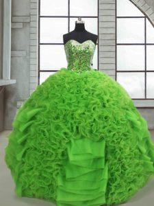 Fantastic Green Lace Up Sweetheart Beading and Ruffles Vestidos de Quinceanera Organza Sleeveless