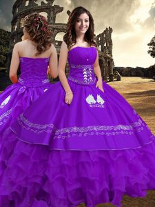 Strapless Sleeveless Taffeta Quinceanera Dresses Embroidery and Ruffled Layers Zipper