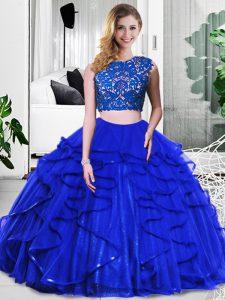Cheap Floor Length Royal Blue Quinceanera Dresses Scoop Sleeveless Zipper