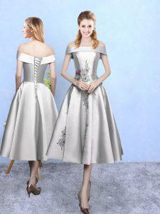 Inexpensive A-line Dama Dress Silver Off The Shoulder Taffeta Sleeveless Tea Length Lace Up