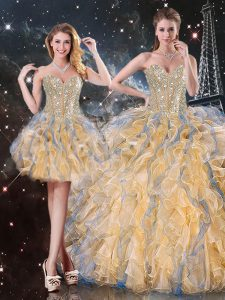 Gold Sweetheart Neckline Beading and Ruffles Vestidos de Quinceanera Sleeveless Lace Up