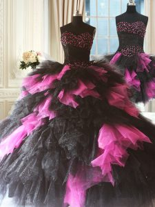 Stylish Pink And Black Lace Up Sweetheart Beading and Ruffles Sweet 16 Dresses Tulle Sleeveless