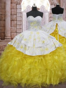 Customized Sweetheart Sleeveless Quince Ball Gowns Brush Train Beading and Appliques and Ruffles Yellow And White Organza