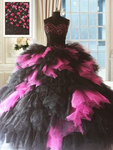 Attractive Pink And Black Ball Gowns Sweetheart Sleeveless Tulle Floor Length Lace Up Beading and Ruffles Sweet 16 Dress