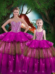 Sleeveless Floor Length Beading and Ruffled Layers Lace Up Vestidos de Quinceanera with Fuchsia
