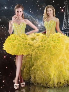 Sleeveless Floor Length Beading and Ruffles Lace Up Quinceanera Gown with Yellow