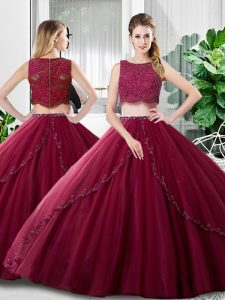 Burgundy Two Pieces Tulle Scoop Sleeveless Lace and Ruching Floor Length Zipper Quince Ball Gowns