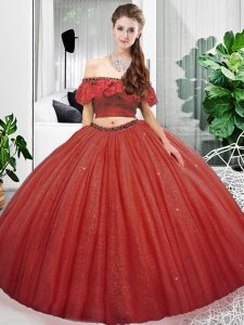 Two Pieces Quinceanera Dresses Coral Red Off The Shoulder Organza Sleeveless Floor Length Lace Up