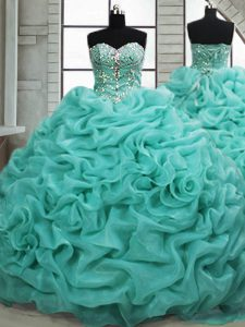 Turquoise Organza Lace Up Sweetheart Sleeveless Quince Ball Gowns Brush Train Beading and Pick Ups