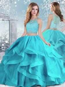 Comfortable Sleeveless Clasp Handle Floor Length Beading and Ruffles Sweet 16 Quinceanera Dress
