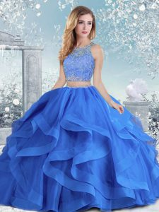 Lovely Organza Scoop Long Sleeves Clasp Handle Beading and Ruffles Sweet 16 Dresses in Royal Blue