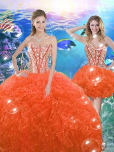 Eye-catching Floor Length Ball Gowns Sleeveless Orange Red 15th Birthday Dress Lace Up
