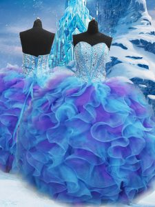 Beading and Ruffles Sweet 16 Quinceanera Dress Blue Lace Up Sleeveless Floor Length