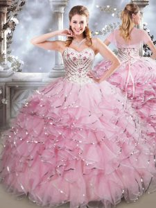 Fitting Baby Pink Ball Gown Prom Dress Military Ball and Sweet 16 and Quinceanera with Beading and Ruffles Sweetheart Sleeveless Lace Up