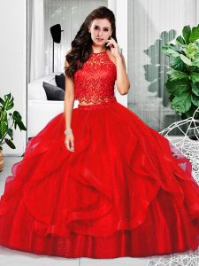 Red Zipper Halter Top Lace and Ruffles Quinceanera Dresses Tulle Sleeveless