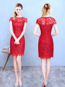 Bateau Short Sleeves Court Dresses for Sweet 16 Knee Length Lace Red Lace