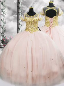 Floor Length Ball Gowns Short Sleeves Pink Quinceanera Gown Lace Up