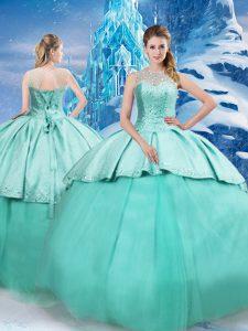 Turquoise Sleeveless Beading and Ruching Lace Up Sweet 16 Dresses