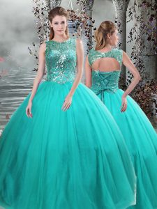 Custom Fit Turquoise Lace Up Quinceanera Gown Beading Sleeveless Floor Length
