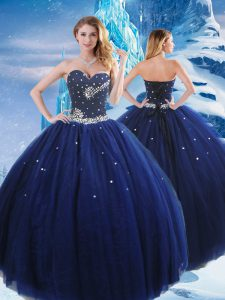 Navy Blue Sleeveless Floor Length Beading Lace Up Quince Ball Gowns