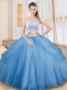 Flare Baby Blue Sleeveless Floor Length Beading and Ruching and Pick Ups Criss Cross Vestidos de Quinceanera