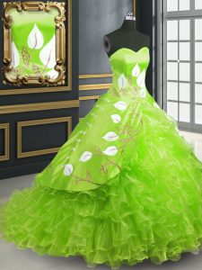 Deluxe Lace Up Quinceanera Dresses Embroidery Sleeveless Brush Train
