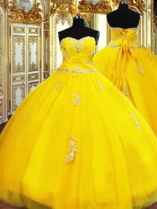 Sexy Gold Lace Up Sweetheart Beading and Appliques Quinceanera Dresses Organza Sleeveless