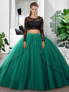 Dark Green Backless Scoop Lace and Ruching 15 Quinceanera Dress Tulle Long Sleeves