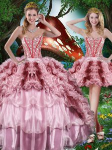 Sleeveless Floor Length Beading and Ruffles and Ruffled Layers Lace Up 15th Birthday Dress with Multi-color