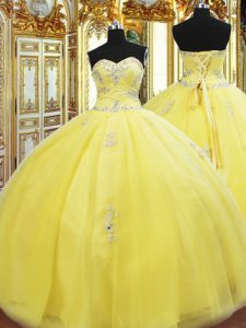 Sexy Sweetheart Sleeveless Lace Up 15 Quinceanera Dress Gold Tulle