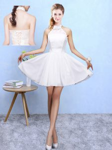 Knee Length White Quinceanera Court of Honor Dress Chiffon Sleeveless Lace