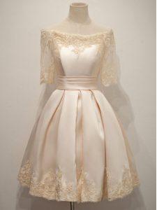 A-line Dama Dress for Quinceanera Champagne Off The Shoulder Taffeta Half Sleeves Knee Length Zipper
