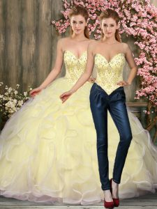 Flare Light Yellow Sleeveless Beading and Ruffles Floor Length Quince Ball Gowns