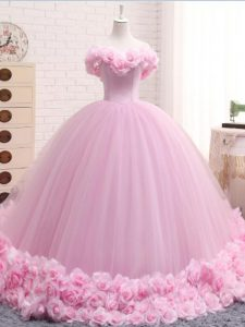 Top Selling Sleeveless Hand Made Flower Lace Up Quinceanera Gowns with Baby Pink Brush Train