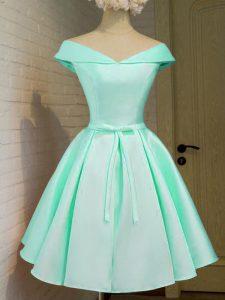 Enchanting Knee Length Turquoise Damas Dress Off The Shoulder Cap Sleeves Zipper
