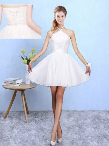 Great Mini Length A-line Sleeveless White Dama Dress for Quinceanera Lace Up
