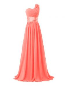 Fine Watermelon Red Quinceanera Court of Honor Dress Prom and Party and Wedding Party with Ruching One Shoulder Sleeveless Lace Up