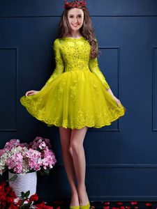 Superior Yellow 3 4 Length Sleeve Chiffon Lace Up Court Dresses for Sweet 16 for Prom and Party