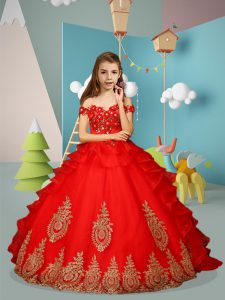 Off The Shoulder Sleeveless Lace Up Little Girl Pageant Dress Red Tulle