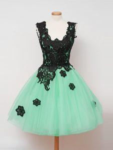 Turquoise Sleeveless Lace Knee Length Damas Dress
