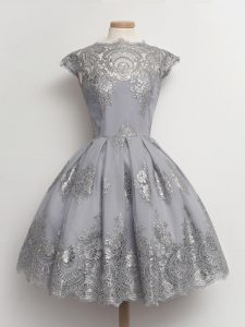 Artistic Grey Scalloped Lace Up Lace Quinceanera Court Dresses Cap Sleeves