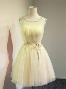 Sophisticated Gold Lace Up Quinceanera Court of Honor Dress Belt Sleeveless Knee Length