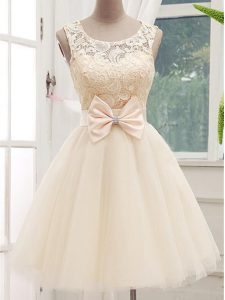 Knee Length Champagne Quinceanera Court of Honor Dress Tulle Sleeveless Lace and Bowknot