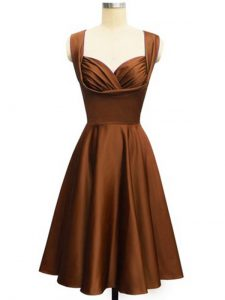 Chocolate Sleeveless Knee Length Ruching Lace Up Quinceanera Court Dresses